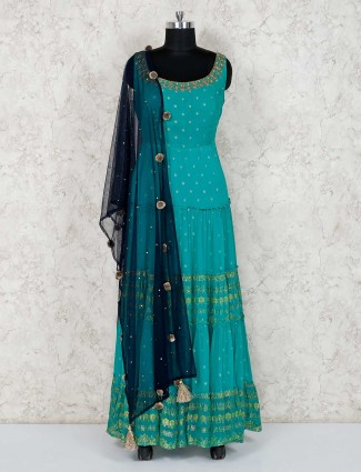 Aqua anarkali salwar suit in georgette