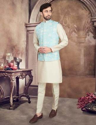 Aqua and beige mens waistcoat set in raw silk