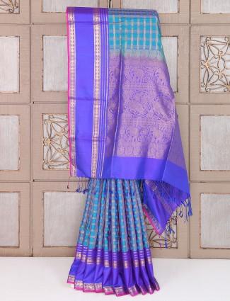 Aqua and purple color silk saree