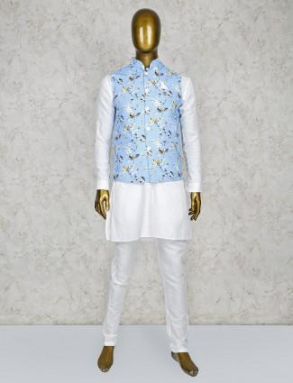 Aqua and white terry rayon party waistcoat set