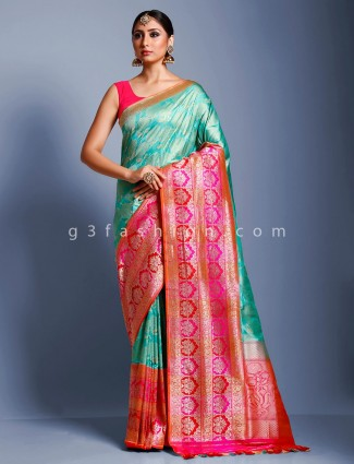Aqua pure handloom banarasi silk saree for wedding