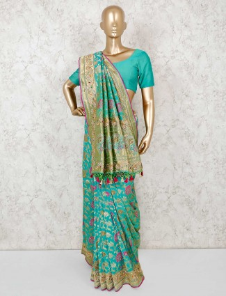 Aqua banarasi silk saree with same fabric blouse