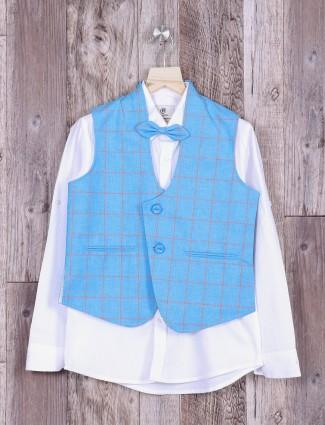 Aqua color checks waistcoat
