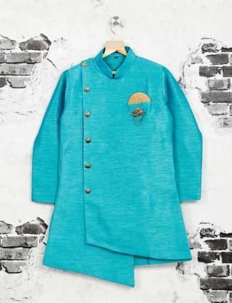Aqua color cotton silk kurta suit