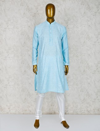 Aqua color festive function cotton silk kurta suit