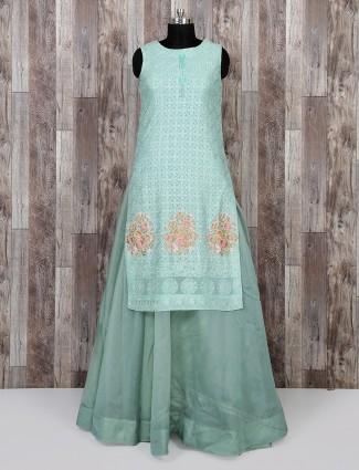 Aqua color festive wear salwar suit