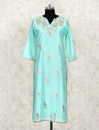 Aqua color palazzo suit in cotton fabric