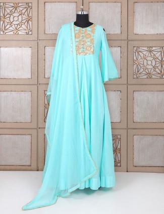 Aqua color party wear silk anarkali suit