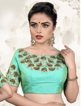 Aqua color raw silk fabric ready made blouse
