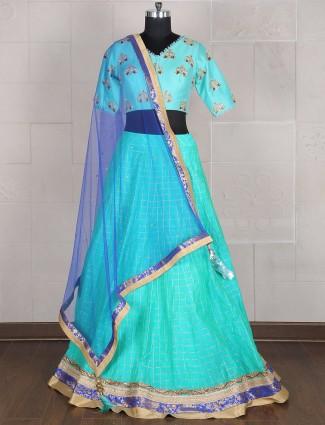 Aqua color silk wedding lehenga choli
