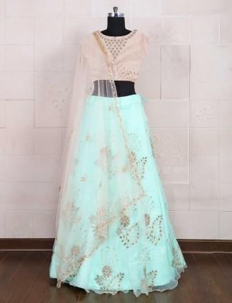 Aqua color tissue silk semi stitched lehenga choli
