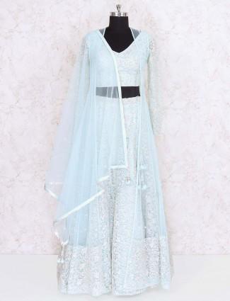 Aqua colored net fabric party lehenga choli