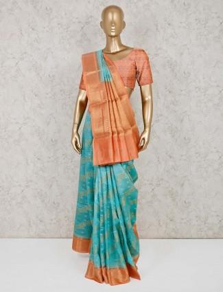 Aqua cotton banarasi silk festive wear saree