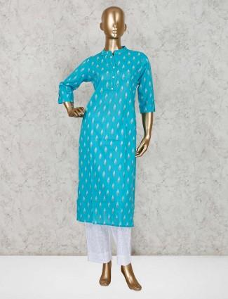 Aqua cotton festive function kurti set