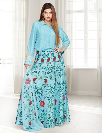 Aqua cotton silk designer printed lehenga suit