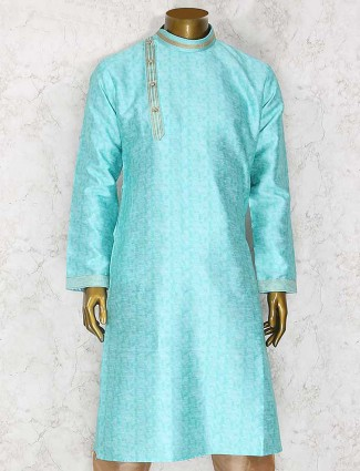 Aqua cotton silk kurta suit