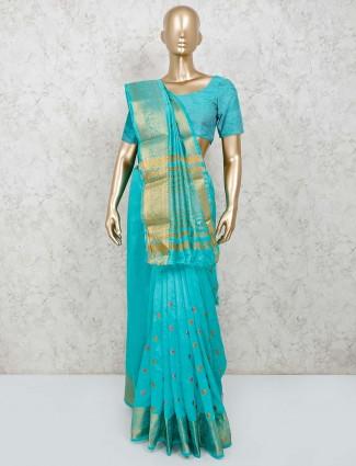 Aqua cotton silk thread zari woven saree