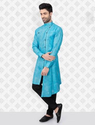 Aqua cotton stand collar kurta suit