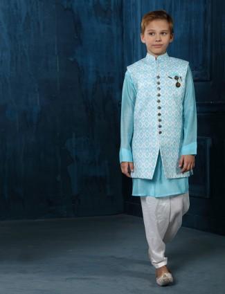 Aqua cotton stand collar waistcoat set