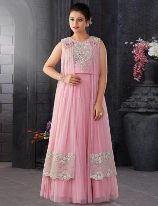 Pink designer girls lehenga choli in net