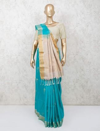 Aqua designer saree in south pure silk