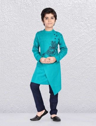Aqua green bandhgala type kurta suit