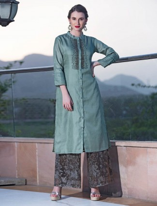 Aqua green casual wear cotton silk kurti