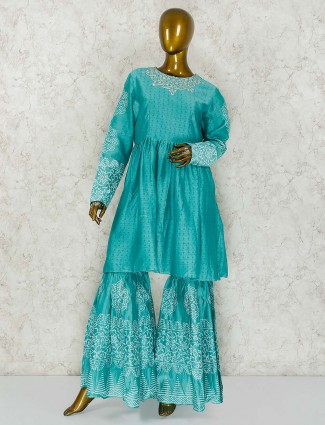 Aqua green cotton silk festive wear punjabi sharara suit