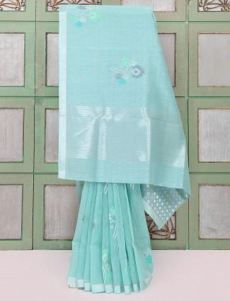 Aqua green designer saree