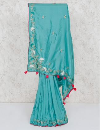 Aqua green festive semi silk saree