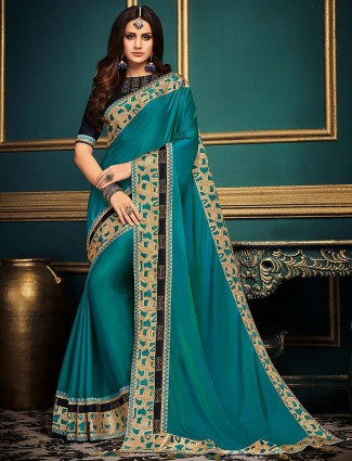 Aqua green lovely cotton silk saree