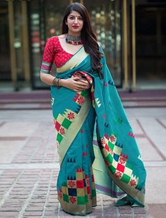 Aqua hue banarasi silk fabric saree