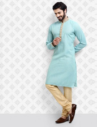Aqua hue cotton fabric kurta suit