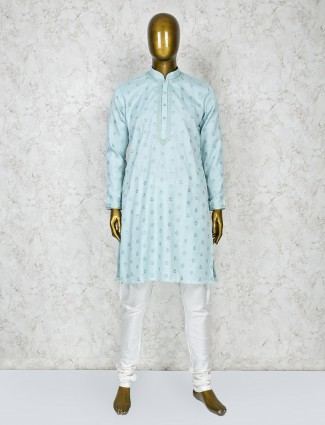 Aqua hue cotton silk fabric festive wear kurta suit