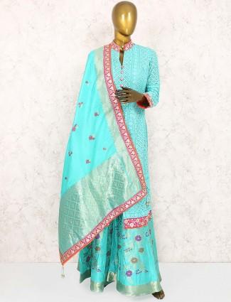 Aqua hue cotton silk punjabi palazzo suit