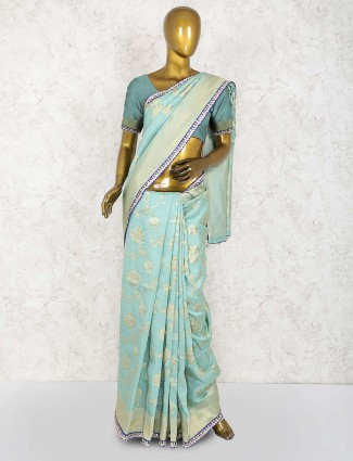Aqua hue festive wear cotton silk saree