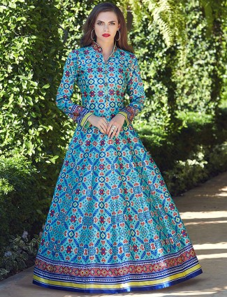 Aqua hue patola silk floor length anarkali suit