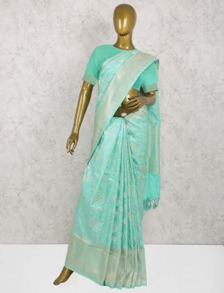 Aqua hue pure banarasi silk saree