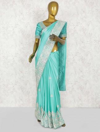Aqua hue pure silk lovely wedding saree