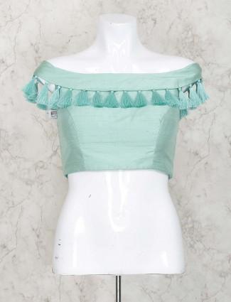 Aqua hue raw silk blouse
