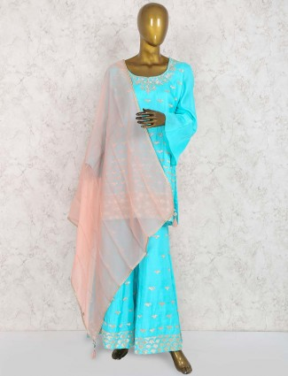 Aqua hue raw silk punjabi sharara suit