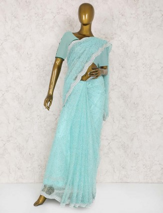 Aqua hue saree in chiffon