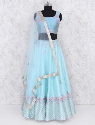 Aqua hued silk fabric lehenga choli for party