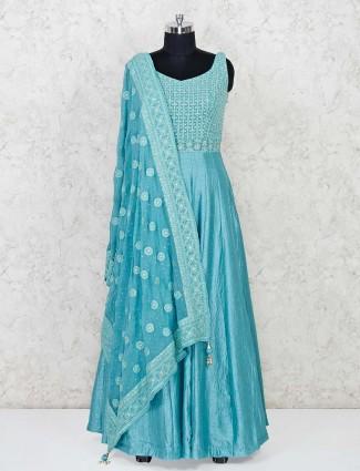 Aqua raw silk floor length anarkali salwar suit