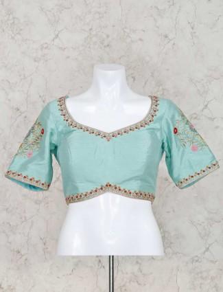Aqua raw silk ready made blouse