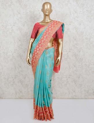 Aqua semi silk thread and zari details saree