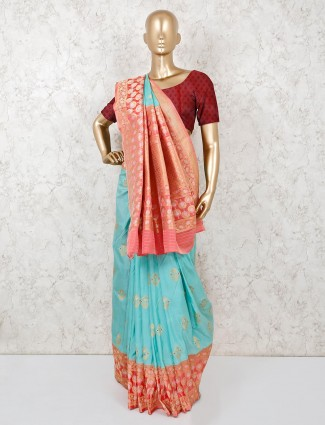 Aqua semi silk zari weaving saree