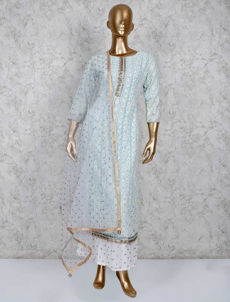 Aqua sharara salwar suit in georgette