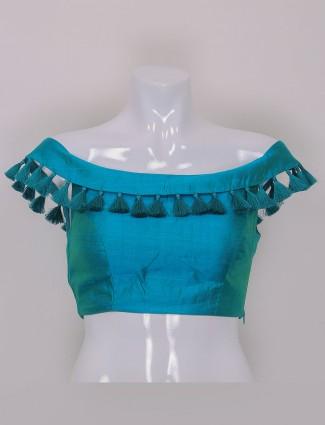 Aqua silk plain ready made blouse
