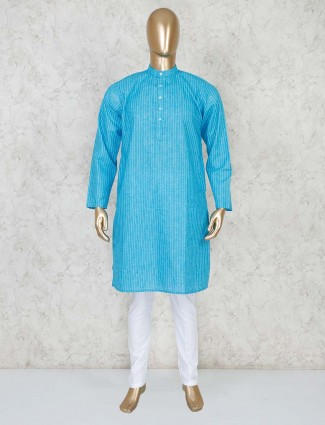 Aqua stand collar stripe kurta suit